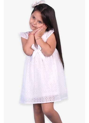 Breeze Kız Çocuk Elbise Fisto Basic Fiyonklu Ekru (3-8 Yaş) Ekru